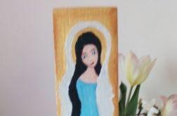 Niebieski anioł - malowany na desce