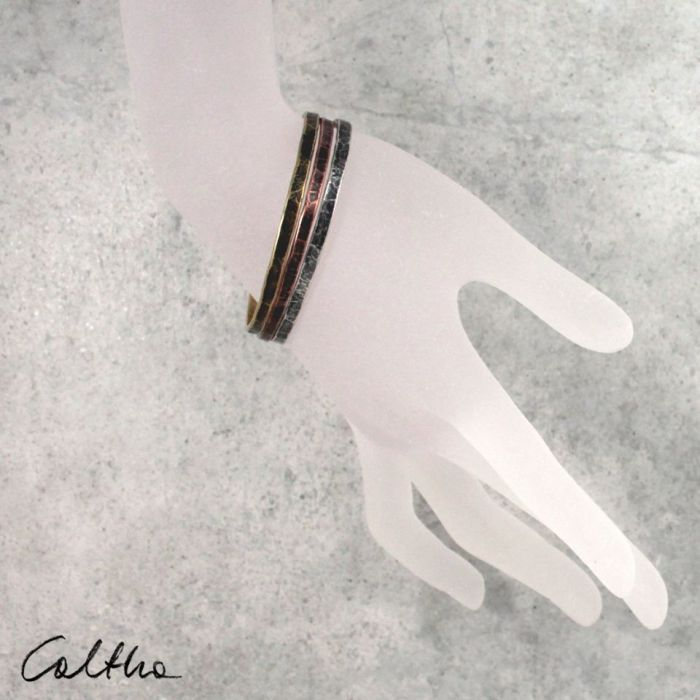 Komplet 3 metalowych bransoletek 190811-00 - Cienkie bransoletki
