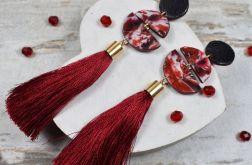 Długie kolczyki z chwostami - bordo i czerń