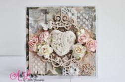 Kartka Ślubna - serce z masy plastycznej