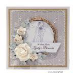 Kartka ślubna szara ręcznie robiona - Szara kartka z parą na ślub