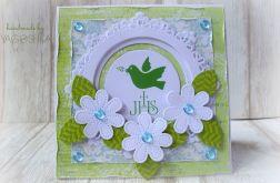 Kartka z okazji Pierwszej Komunii zielona