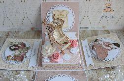 Exploding box Vintage BabyGirl chrzest GOTOWY