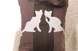 Brązowa torba z kotami Kot dżinsowa