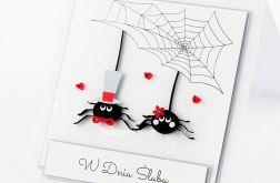 Kartka z okazji ślubu pająki