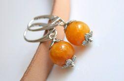 Kolczyki jadeit pomarańczowy + srebrne bigle