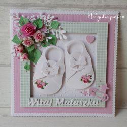 Kartka z bucikami na narodziny dziewczynki