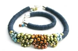 Komplet len i perły naturalne Mahari