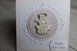 Kartka na Chrzest szaro - różowa z aniołkiem