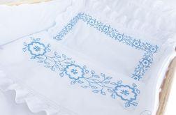 Biała pościel dziecięca z koronką, falbanką i haftem - Colorico