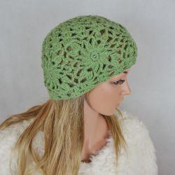 Czapka zielona wełna