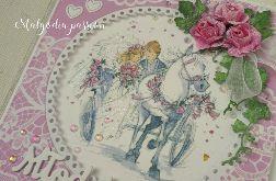 Ślubna kartka z bryczką