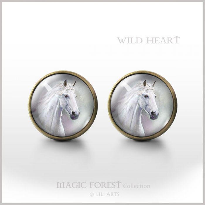 Wild Heart - antyczny brąz - kolczyki wkrętki