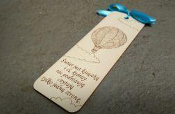 drewniana zakładka do książki z balonem