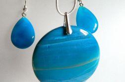 Błękitne agaty i srebro, elegancki zestaw