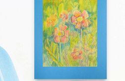 Rysunek kwiaty na niebieskim tle nr 10 szkic