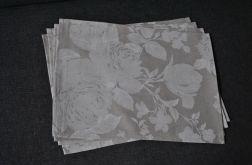 4 podkładki pod talerze - białe kwiaty na lnie