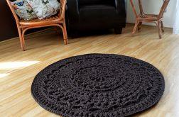 Ciemnobrązowy, ozdobny dywan ze sznurka