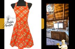 Fartuch kuchenny sukienkowy świąteczna kratka
