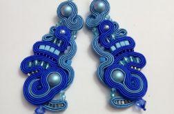 kobaltowe kolczyki sutasz perła Swarovski