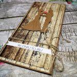 Kartka ślubna z motywem drewna 07 - kartka slubna z gotowymi życzeniami