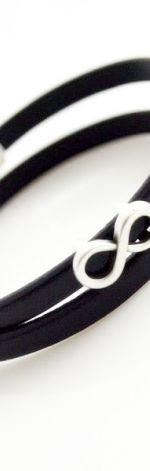 Bransoletka INFINITY czarna skóra 5mm
