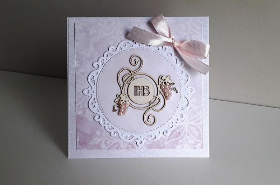 Kartka na Komunię Świętą perełki IHS różowa