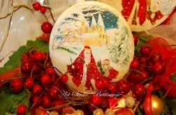 """Medalion malowany ręcznie """"Mikołaj i elf"""""""