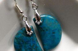 Niebieski agat crazy, kolczyki w srebrze