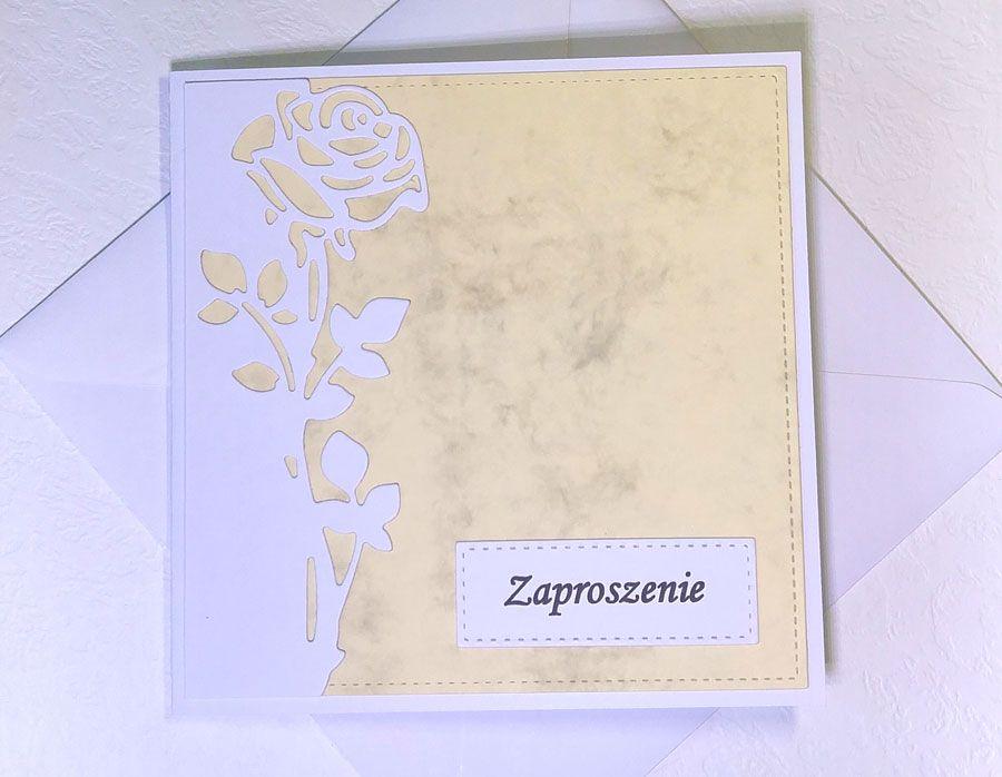 Zaproszenie z różą nr 4 - z kopertą