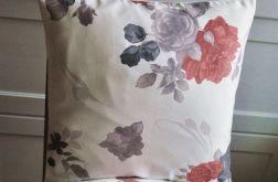 Poszewka dekoracyjna - szare i czerwone róże