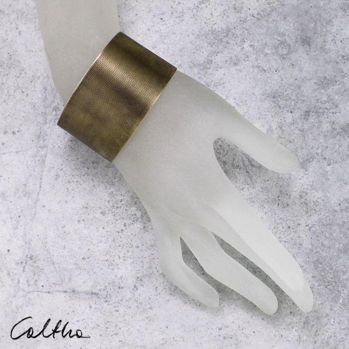 Płótno - mosiężna bransoleta 130523-04 - Szeroka bransoletka