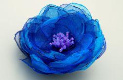 Broszka kwiat - granat i turkus 6 cm