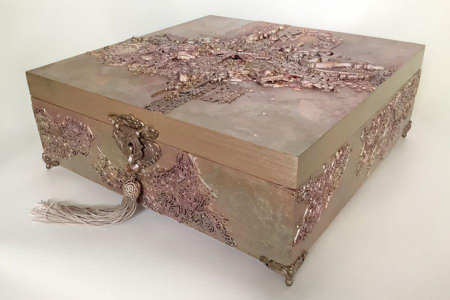 Szkatułka, pudełko vintage rose