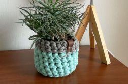Koszyk ze sznurka bawełnianego mięta-szary M