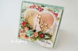 Polne kwiaty - kartka ślubna