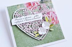 Kartka z sercem dla Mamy zieleń z kwiatami