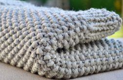 Kocyk niemowlęcy z wełny Merino 100% zrobiony na drutach