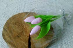 Tulipan 100% bawełna jasnoróż.prążki