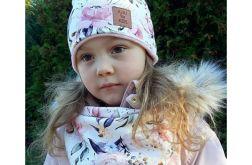 """Komplet zimowy:czapka z apaszka """"Roże"""""""