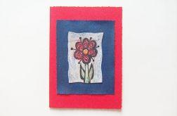 Kartka czerwona z kwiatkiem 19
