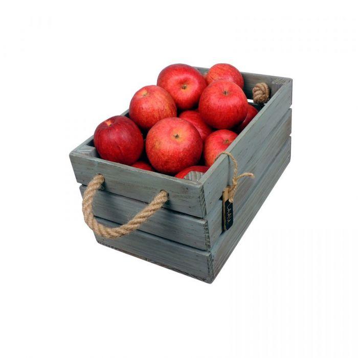 Skrzynka drewniana brąz - turkus 20x31x16,5 - Skrzynka na owoce