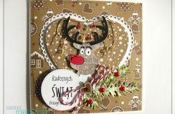 Kartka świąteczna z wesołym reniferem 3