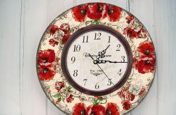 Zegar Ścienny Retro Kwiaty Maki Prezent