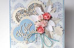 Kartka ślubna z sercem niebieska nr 1
