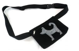 Waist pouch with gray dog