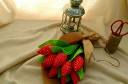 Tulipan 100% bawełna 10szt czerw krop