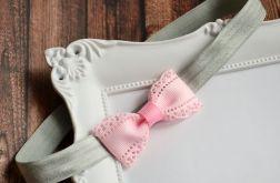 FairyBows Opaska różowa kokardka + szary