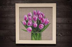 Tulipany malarstwo płótno lniane 20 x 20 cm