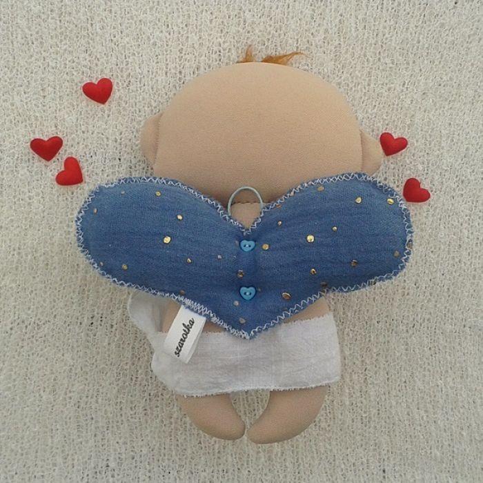 AMOREK, CHERUBINEK, ANIOŁEK lalka - dekoracja tekstylna, OOAK - na walentynki